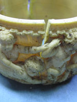 original condition of one of the ivory bands of lamp