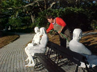 Three Figures and Four Benches by George Segal