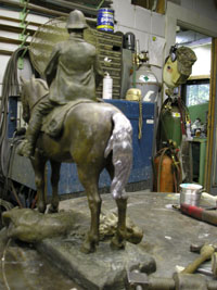 Tail pieces welded together and attached to horse
